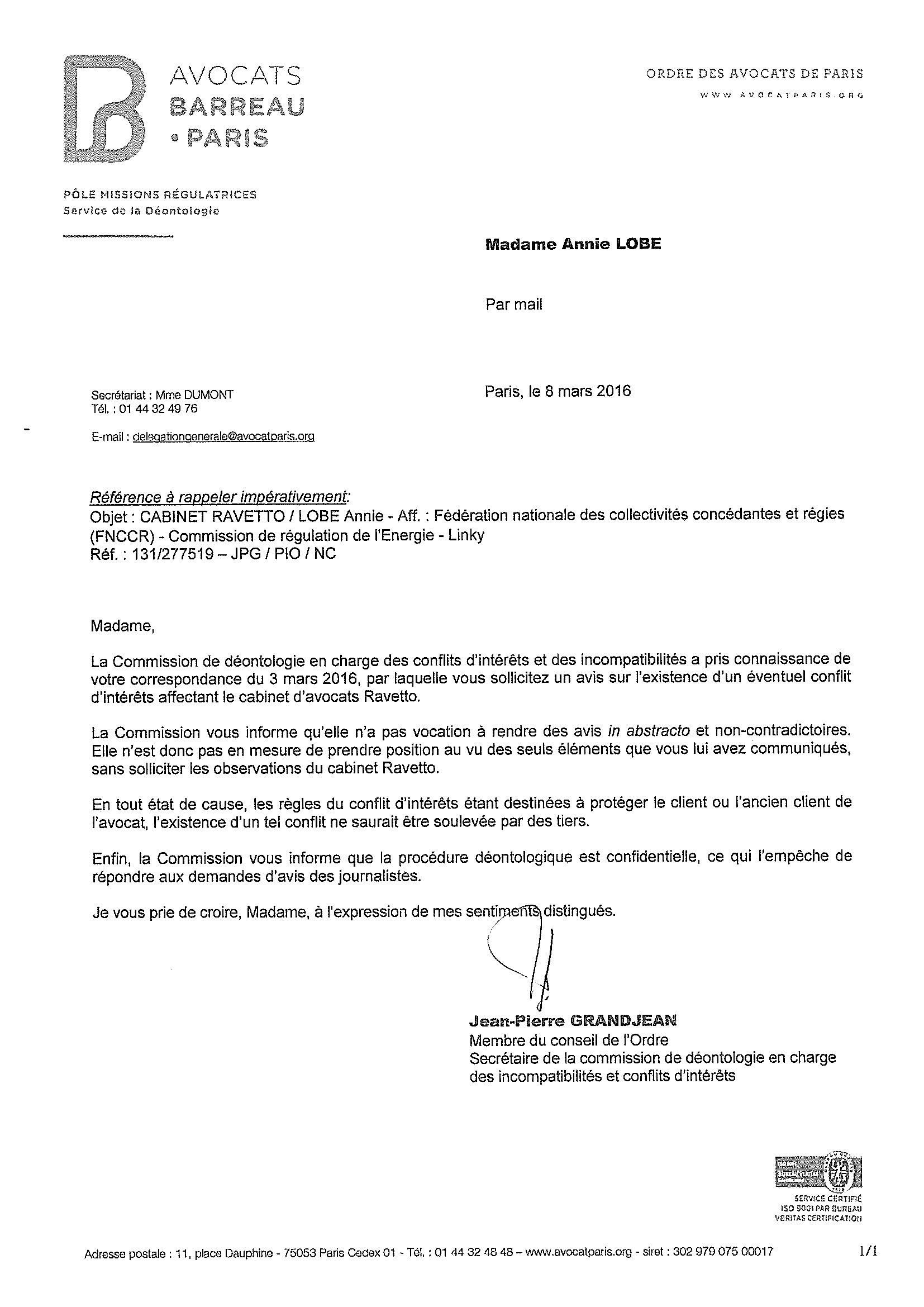 modele lettre passage commission de securite